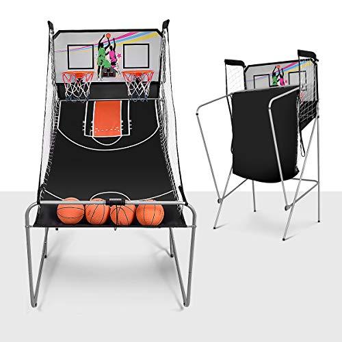 DREAMADE Jeu de Basketball Arcade Electrique avec 2 Paniers, Basket-Ball Intérieur Interactif à 8 Options des Jeux, Jeu de Basketball Pliant avec LED Score, en Acier Résistant