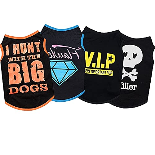 Sebaoyu Dog Clothes for Small Dogs Girl Xs Female Dog Clothes Pet Puppy Shirts Chiuahaha Clothes Outfit Summer Fall Dog Costume Doggie Cat Clothing for French Bulldog Yorkie Breed 4 Piece (X-Small)