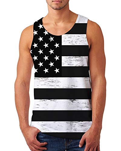 uideazone 4th of July Tank Top for Mens American Patriotic Tanks Casual Graphics Tees Cool Sleeveless T-Shirts Medium