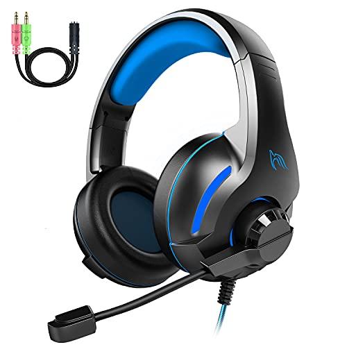 Cuffie Gaming PS4, Cuffie da Gaming con Microfono Pieghevole Cancellazione Rumore, 3D Surround Stereo Audio, Controllo del Volume e 3.5mm Plug per PC Xbox One Laptop Mac TM-70