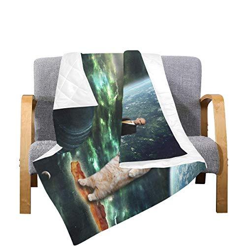 Enhusk Bettdecken Königin Putin auf Einer Katze auf einem Speck im Weltraum Mikrofaser Primitive Throw Quilts 70x80 Zoll Mehrfarbig dekorativ für Bett Couch Sofa