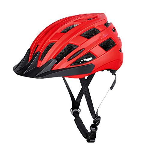 Casco De Bicicleta con Visera, Casco De Ciclismo Deporte Ligera Ajustable para Niños Y Hombres Mujeres Protección De Seguridad BMX Scooter Monopatín Casco De Carretera De Montaña Red-M(54-58CM)