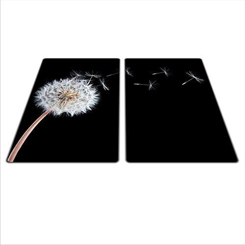 Glass Awesome Lot de 2 planches universelles de protection de plaque de cuisson en verre/céramique/induction/gaz avec 4 pieds en silicone pour protéger contre les rayures/saturation des couleurs profondes grâce au graphisme HD Motif fleur Blanc 2 x 30 x 52 cm