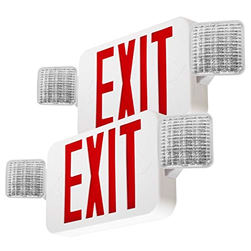 LFI Lights - 2 Pack - UL Certified - Hardwired Red LED Combo Exit Sign Emergency Light - COMBO2RWBBx2