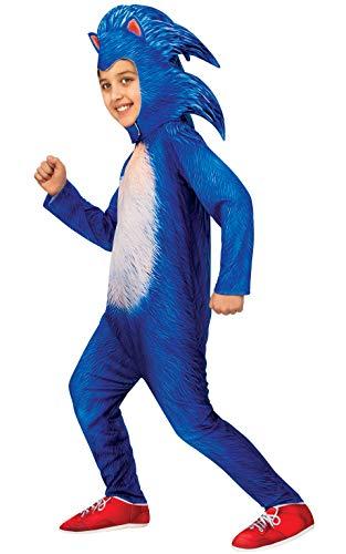 Disfraz oficial de Sonic The Hedgehog de Rubie's, disfraz de Sonic Deluxe, para niños de 5 a 6 años, altura de 132 cm