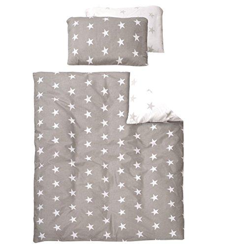 2 teiliges Bettwäsche Set Little Stars, moderne Applikationen - Kleinkind Kinder Bett Decke Kissen Baumwolle Sterne