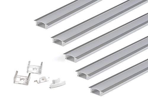 KingLed - KIT di 5 Profili da Incasso in Alluminio Modello CC-31 da 2 metri per Strisce LED Barre Lineari con Coperchio Opaco in Plexiglass Tappi e Ganci Per il Montaggio cod. 2108