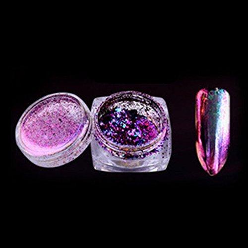Gemini_mall 0,2g holographisches Regenbogen-Puder, Chrompigment für Maniküre, Nageldesign-Glitter