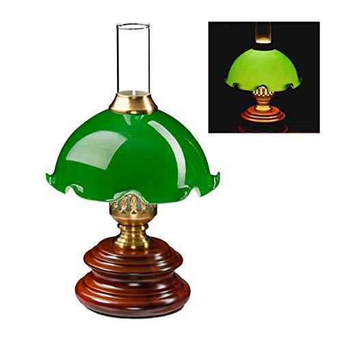 Relaxdays Tischlampe, Jugendstil, dekorativer Glasschirm, E14-Fassung, 230 V, Retro Nachttischlampe, HxD 34x21 cm, grün