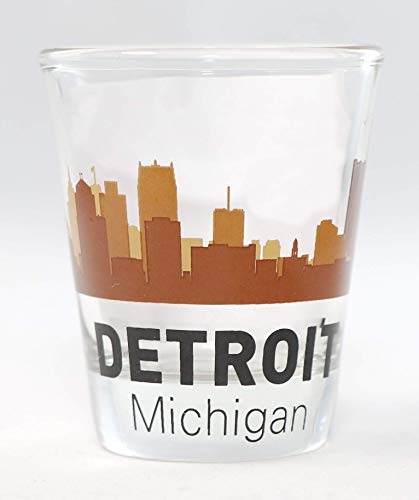 Detroit Michigan Sunset Skyline Shot Glass