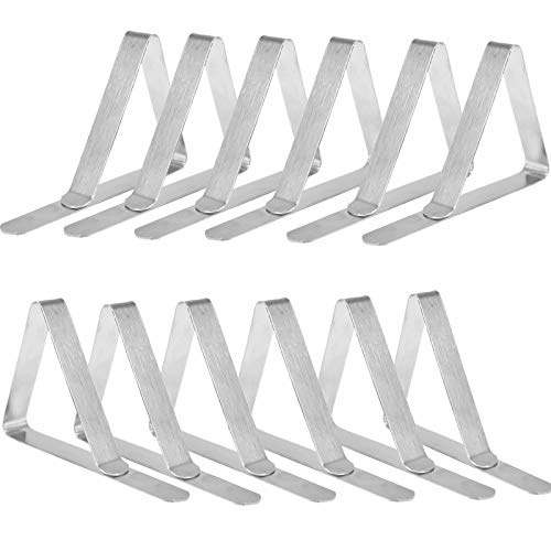 12-Piece Outdoor Tablecloth Clip, Stainless Steel Tablecloth Clips Picnic Table Tablecloth Clips, Tablecloth Holder for Camping Tablecloth, Tall Table Tablecloth Clips for Outdoor Tables (Silver)