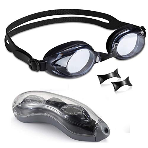 aegend Swim Goggles with Clear Vision Anti-Fog UV Protection No Leaking Swimming Goggles for Men Women Adult Youth Triathlon 3 Sizes Replaceable Nose Pieces and Free Protection Case