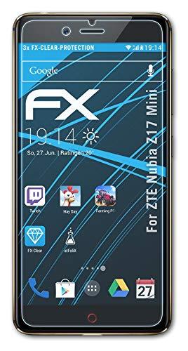 atFolix Schutzfolie kompatibel mit ZTE Nubia Z17 Mini Folie, ultraklare FX Bildschirmschutzfolie (3X)