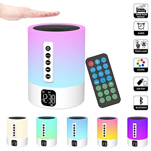 Bluetooth Lautsprecher mit Licht,Einschlafhilfe White Noise Machine, Touch Dimmbar Nachttischlampe mit Wecker,5 in 1 Multifunktional led Nachtlicht Dimmbar,Geschenke für Mädchen Kinder Teenager Freund