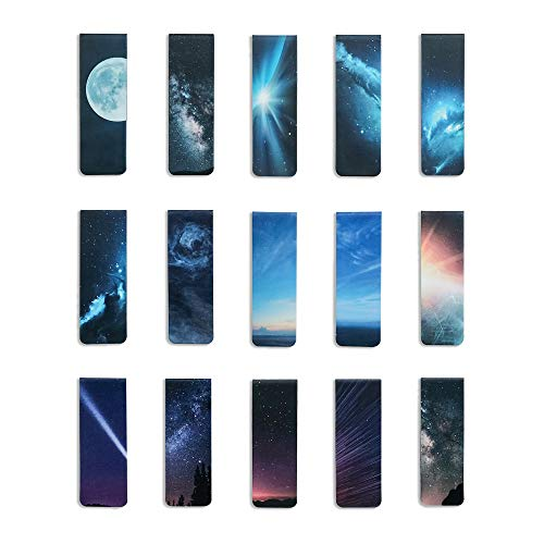 MAXSELL 15 Pieces Magnetic Bookmarks Planets and Starry Sky Book Markers Set Magnet Page Markers for Reading School Classroom Library and Home