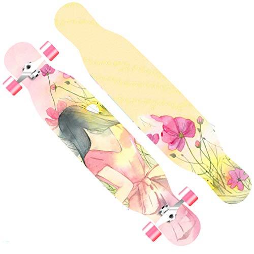DUBAOBAO Complete 40-inch longboard skateboard, kleur antislip schuurpapier ontwerp, gebroken plaat vervanging