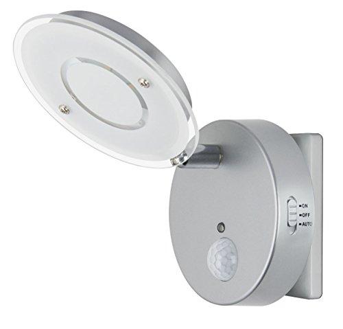 Trango LED Sensor Nachtlicht TG2636-014 in Silber mit Automatikfunktion & Bewegungssensor I Sicherheitslicht I Steckdose Lampe I Wandlampe I Orientierungslicht I Kinderlicht