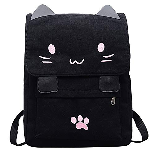 Fashion Women Cartoon Canvas Backpack Cute Cat Embroidery School Bag College Satchel Travel Rucksack Girl