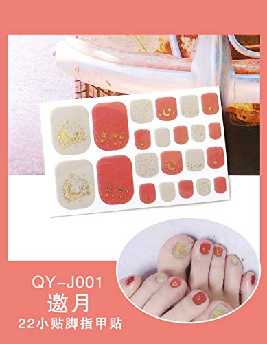 BGPOM Foot Stickers Nail Stickers Nail Stickers Fully Waterproof Lasting 3D Toenail Stickers Patch 10 Sheets/Set,Invitation to The Moon (QY-J001)