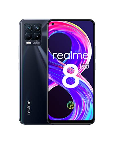 "realme 8 Pro Smartphone Libre, Cámara cuádruple Ultra de 108 MP, Pantalla completa AMOLED superior de 6,4"", Carga SuperDart de 50W, Batería de 4500 mAh, Dual Sim, 6+128GB, Negro (Punk Black)"