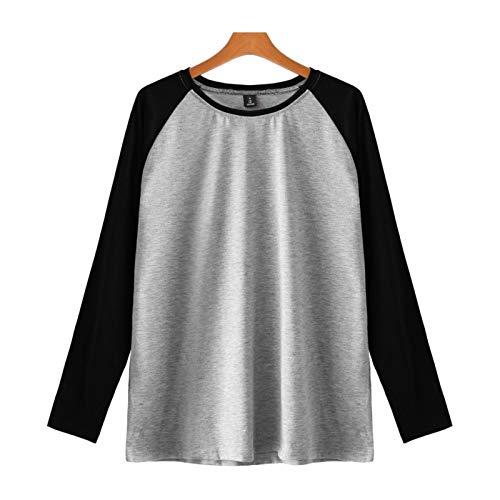 HOSD Camiseta de manga larga para hombre y mujer con cuello redondo