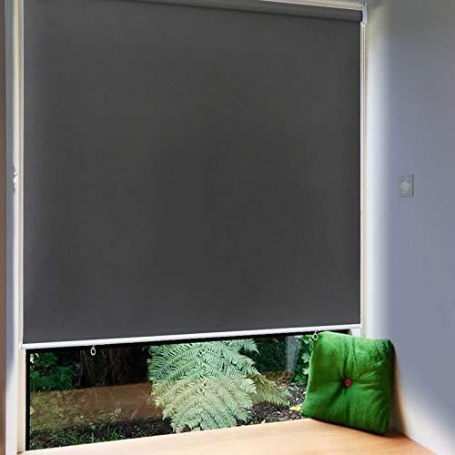 Froadp 100x240cm Senkrechtmarkise Außenrollo Sichtschutzrollo Reflektierende Thermofunktion Balkonrollo für Fenster & Türen(Anthrazit)