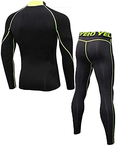 Mens Thermal Underwear Set Mock Long Sleeve T-Shirt Cool Dry Baselayer Pants