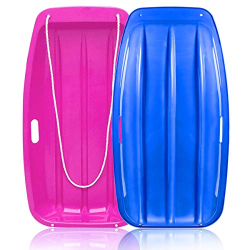 """Soosi Plastic Snow Sleds for Kids and Adult, 35""""Snow Sled Sleds for Snow Toboggan Sled for Toddlers with 2 Handles and Pull Ropes Toddler Sled for Outdoor Winter Slider Downhill,Blue Pink"""
