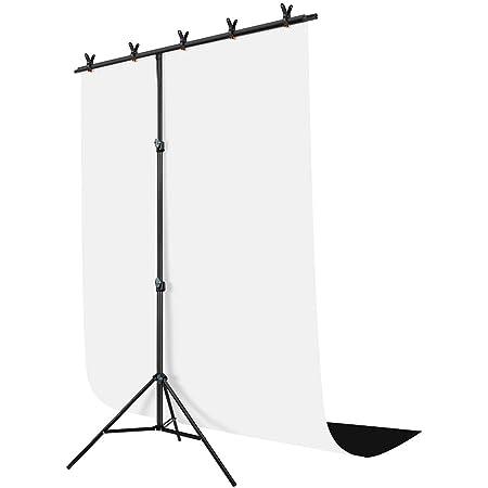 Hemmotop 背景布 スタンド 150x200cm 黒い布 白い布 強力クリップ付 背景スタンド 82-192cm 高さ調整可能 撮影 背景シート テレワーク リモートワーク テレビ会議用 撮影スタンド 設置簡単 持ち運びが楽 写真撮影用