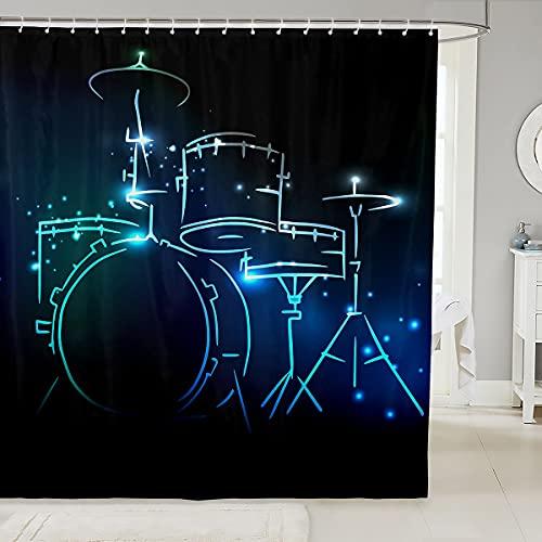 Loussiesd Rock Instrument Duschvorhang 180x180cm Schlagzeug Duschvorhang Textil für Jungen Jugendliche Mann Musik Thema Kreative Fluoreszierende Mode Badezimmer Dekor Blau