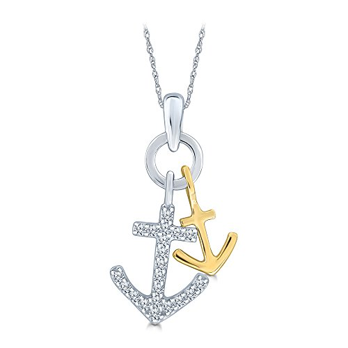La Joya 1/10ct Round White Diamond Sterling Silver Yellow Gold Plated Ship Anchor Diamond Pendant Necklace for Teens Womens Mens
