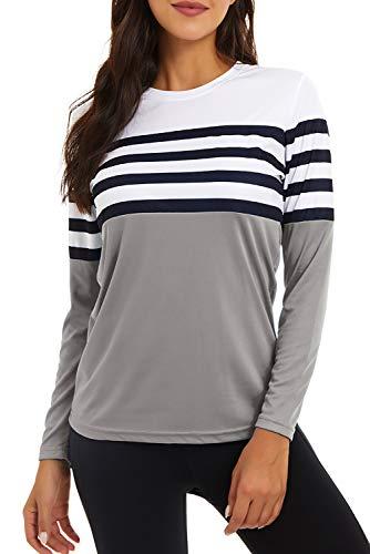 GOLDPKF Langarmshirt Funktionsshirt Damen Sommer Tops fn Wandern Schnelltrocknendes Shirt Mode UV Shirt UPF Sonnenschutz Kleidung Grau X-Large