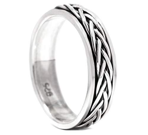 Windalf Wikinger Ring WIRA h: 0.5 cm Flechtmuster Drehring Hochwertiges Silber (Silber, 56 (17.8))