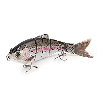 TRUSCEND Fishing Lure Lifelike Multi-jointed Pike Muskie Swimbait Crankbait Hard Bait Fish Treble Hook Tackle by TRUSCEND