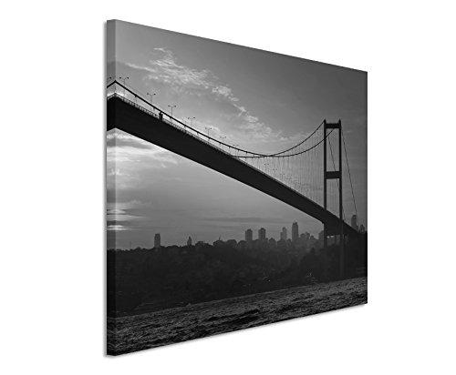 50x70 cm muurschildering fotocanvas afbeelding in zwart wit bosporusbrug bij zonsondergang Istanbul