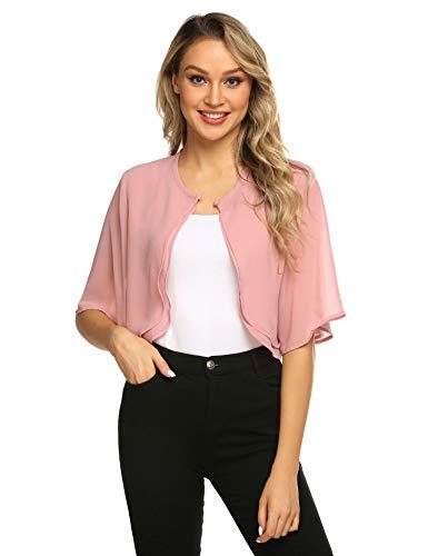 Parabler Damen Festlich Chiffon Bolero Kurze Ärmel Elegant Jacke Schulterjacke Durchscheinendes Looes Cardigan für Sommer Rosa Pink S