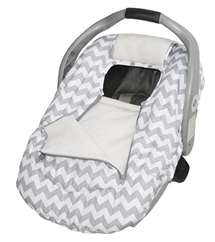 Jolly Jumper Arctic Sneak-A-Peek Infant CarSeat Cover with Attached Blanket, Weatherproof (Gray Chevron)