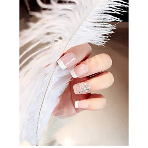 Handcess Clavos falsos cuadrados franceses blancos a presión corta en uñas de...
