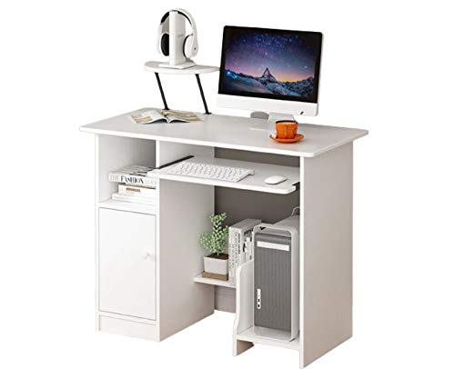 DD-upstep Computer Desk with Hutch and Drawers | White Home Desktop Table with Keyboard Tray | Made of MDF | Ergonomic Design | Modern Simple Style Writing Study Desk Laptop Table