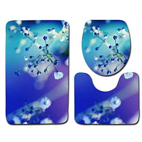 DREAMING-Schöne Blume Badmatte Toilette Dreiteilige Flanell Bad Anti-Rutsch-Bodenmatte Dekorative Teppich Türmatte 50cm * 80cm