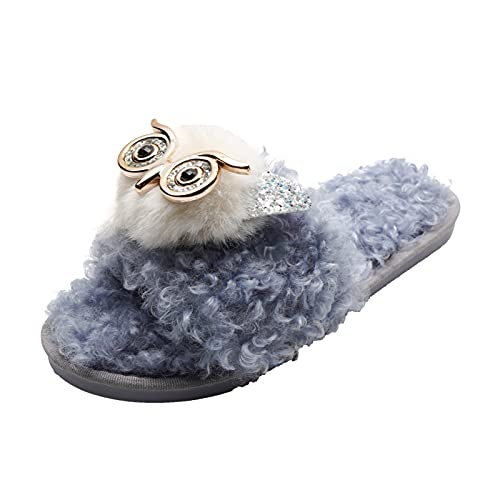 URIBAKY - Zapatillas de exterior transpirables para mujer, color puro, espuma viscoelástica, zapatillas antideslizantes para interior y exterior cálidas, de felpa, azul, 38.5 EU