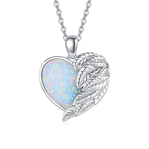 Herz Kette für Damen Opal Schmuck 925 Sterling Silber Flügel Herz Anhänger für Mädchen Opal Halskette für Kinder