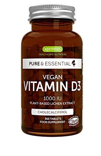 Pure & Essential Vitamina D3 Vegana, 1000 UI Colecalciferol de origen vegetal, 365 comprimidos