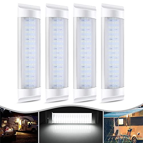 ERDONG 4 Stück 12 V 72 LED Auto-Innenleuchten für Wohnwagen, Wohnmobil, Camper, Boot, helle Innenbeleuchtung, Lichtleiste für Küche, Badezimmer, Schlafzimmer, LED-Lampe, Universal-Ein-/Aus-Schalter