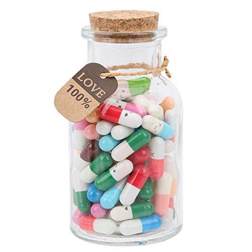 Botella de deseos con letras en cápsula, 100 unidades de pastillas de mensaje de estilo de colores mezclados cápsulas de vidrio botellas de deseos botellas de deseos de amistad para decoración