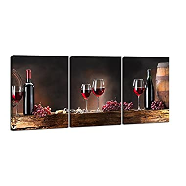 Pyradecor 3 Piece Canvas Paintings Wall Art Prints Red Wine Bottle and Barrel Grape Fruit Large Modern Stretched and Framed Giclee Food Vintage Artwork Pictures for Kitchen Bedroom Home Decorations L