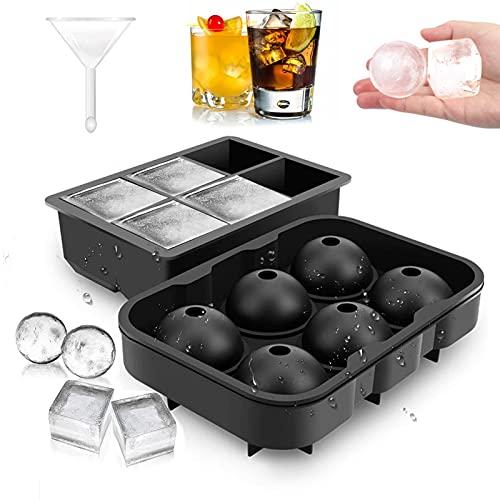 2 Stück Eiswürfelform,Silikon Eiswürfelform,Eiskugelform, Eiswürfelschalen,für Bier Cocktails Whisky