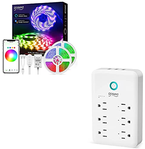 Led Strip Lights, Gosund Smart WiFi Led Lights 32.8ft Compatible with Alexa and Google Home, App Control, 16 Million Colors and Smart Plug Outlet Extender, Gosund Surge Protector Power Strip