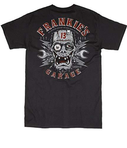 Lucky 13 Men's T Shirt Frankies Garage Monster Tattoo Hot Rod Motorcycle S - 4XL