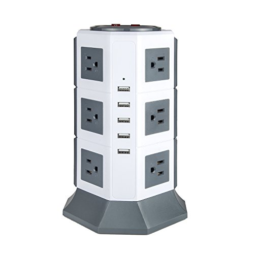 Surge Protector with USB Power Strip 12-outlets Oteck Advanced 5USB Ports Tower Extension Cord with Multiple Outlets 4.5A Max Output 6.5ft Cord?Grey